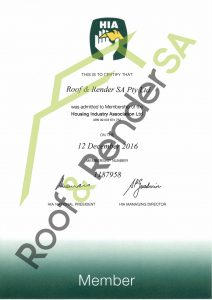 Housing Industry Association Membership Certificate Roof and Render