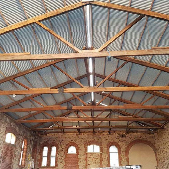 port adelaide warehouse inside commerical roof rafters