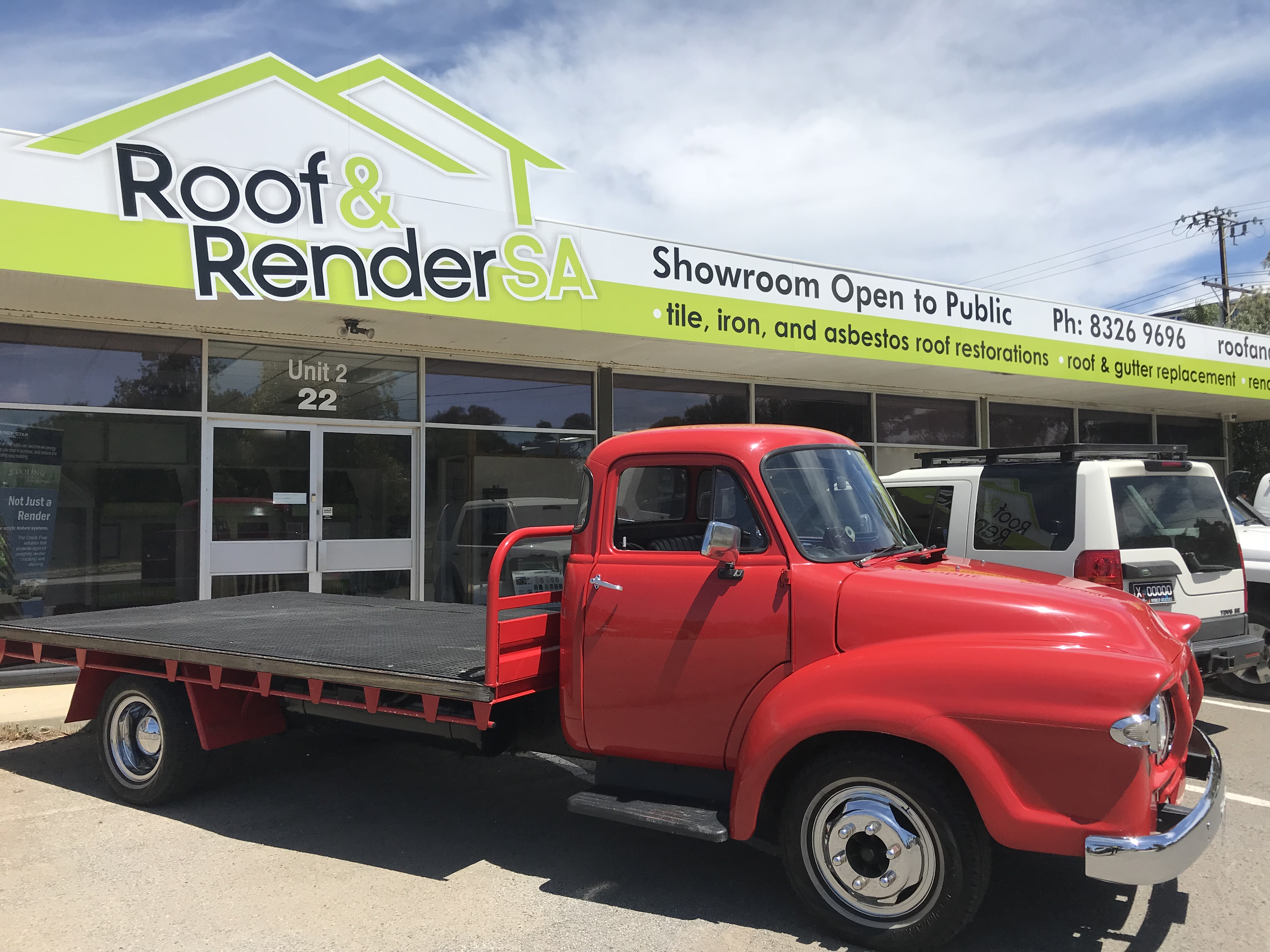 Roof and render shop front